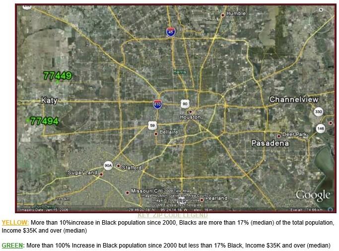 EW Houston Suburbs Black Population Growth Map