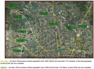 N Suburban Houston Black Population Growth Map