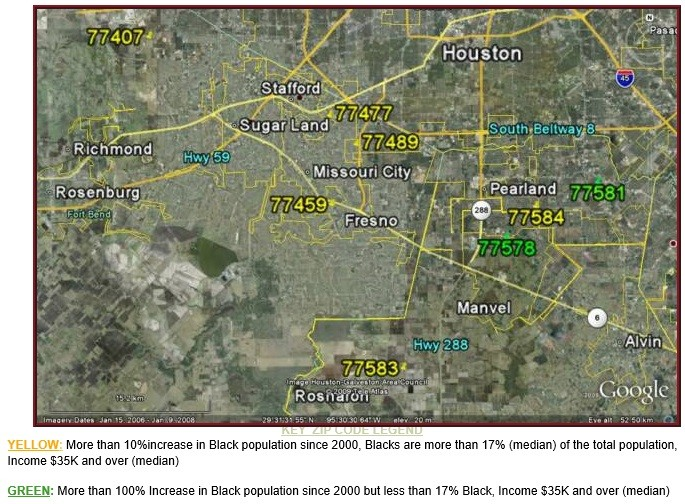 S Houston Suburbs Black Population Growth Map