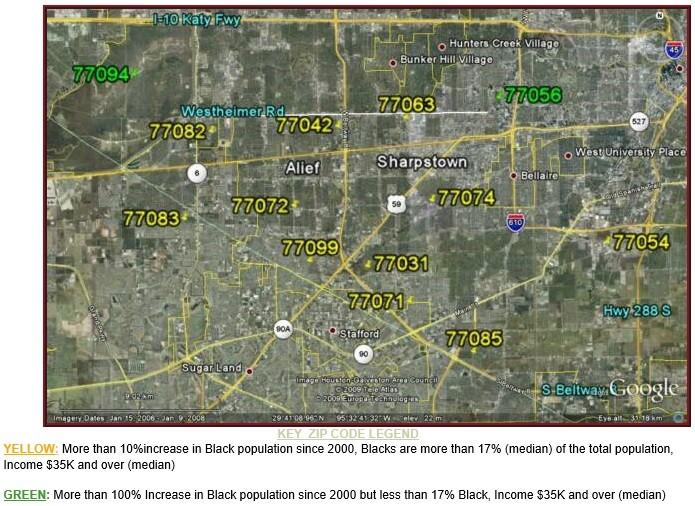 SW Houston Black Population Growth Map